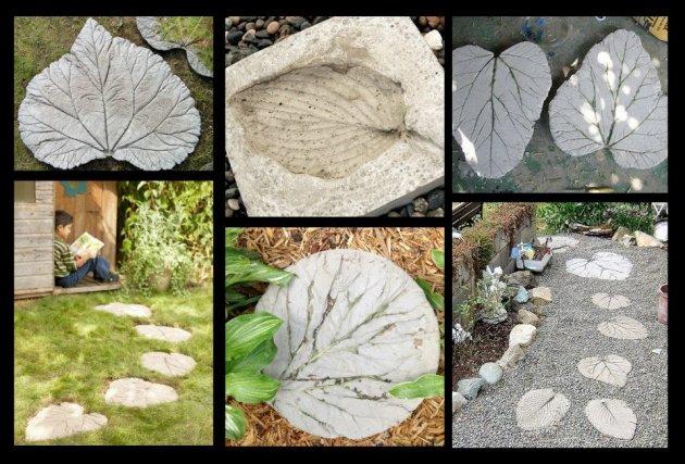 Baldosas de cemento con forma de hoja - Como hacer un suelo de hormigon ...