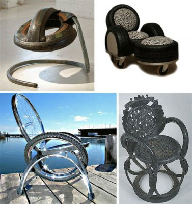 Furniture made using recycled tires